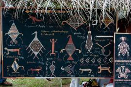 Oeuvre de Tiwan Couchili présentant les animaux du Maroni et leurs taux de mercure.
