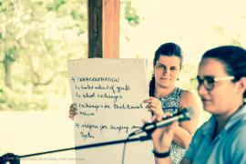 Restitution time on the topic of Language and Strengthening the network  © Claudia Berthier PAG
